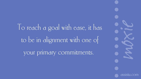 To reach a goal with ease, it has to be in alignment with one of your primary commitments.
